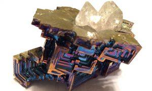 Bismuth and quartz crystal.