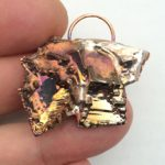Bismuth gold abstract pendant.