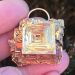 Bismuth gold square gem pendant.
